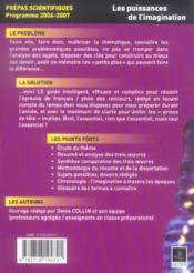 Les Puissances De L'Imagination ; Prepas Scientifiques Programme 2006-2007 - 4ème de couverture - Format classique
