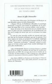 Les Metamorphoses Du Travail Et La Nouvelle Societe Du Temps Libre ; Autour De Joffre Dumazedier - 4ème de couverture - Format classique