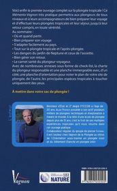 Guide Vagnon du plongeur en mer tropicale - 4ème de couverture - Format classique