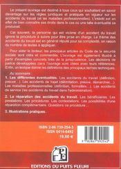 Accidents du travail et maladies professionnelles.cadre juridique & pratique :de - 4ème de couverture - Format classique