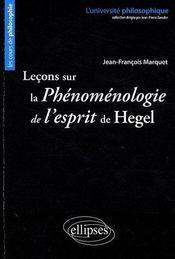 Leçons sur la phénomenologie de l'esprit de Hégel - Couverture - Format classique