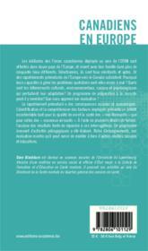 Canadiens en Europe ; élaboration d'un programme psychosocial d'appui à l'adaptation - Couverture - Format classique