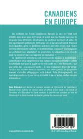 Canadiens en Europe ; élaboration d'un programme psychosocial d'appui à l'adaptation - 4ème de couverture - Format classique