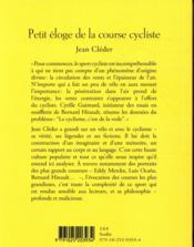 Petit éloge de la course cycliste - 4ème de couverture - Format classique