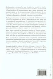 Le francais ordinaire - 4ème de couverture - Format classique