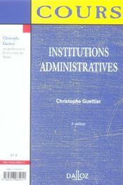 Institutions Administratives - 4ème de couverture - Format classique