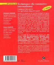 Techniques commerce international - 4ème de couverture - Format classique