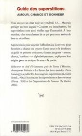 Guide des superstitions ; manuel pratique, anecdotique et populaire - 4ème de couverture - Format classique