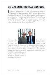 Malentendu Maconnique (Le) - 4ème de couverture - Format classique