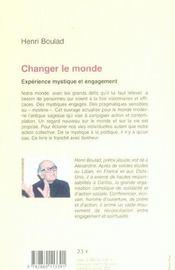 Changer le monde ; expérience mystique et engagement - 4ème de couverture - Format classique