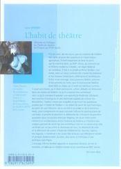 Histoire et poetique de l'habit de theatre en france au xviie siecle (1606-1680) - 4ème de couverture - Format classique