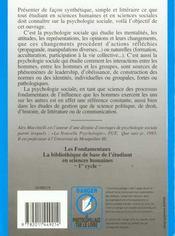 La Psychologie Sociale - 4ème de couverture - Format classique