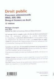 Droit Public ; 12e Edition - 4ème de couverture - Format classique