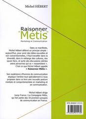Raisonner métis ; marketing et communication - 4ème de couverture - Format classique