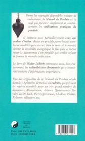 Manuel du pendule - 4ème de couverture - Format classique