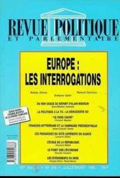 Revue Politique Et Parlementaire - Europe - Couverture - Format classique