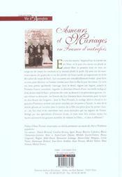 Amours Et Mariages En France D'Autrefois - 4ème de couverture - Format classique