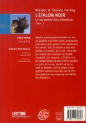L'étalon noir ; la naissance d'un champion - 4ème de couverture - Format classique