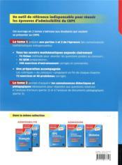 Mathématiques t.1 ; CRPE - 4ème de couverture - Format classique