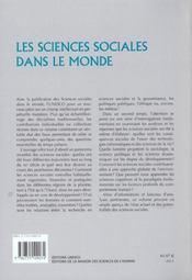 Les Sciences Sociales Dans Le Monde - 4ème de couverture - Format classique