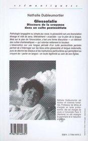 Glossolalie, Discours De La Croyance Dans Un Culte Pentecotiste - 4ème de couverture - Format classique