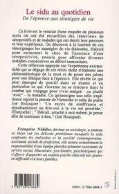 Le Sida Au Quotidien ; De L'Epreuve Aux Strategies De Vie - 4ème de couverture - Format classique