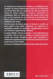 Vade-Mecum Du Germaniste Classes Peparatoires Universite - 4ème de couverture - Format classique
