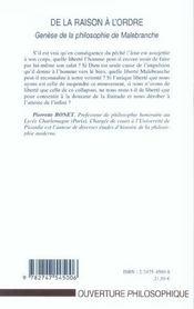 De la raison a l'ordre - genese de la philosophie de malebranche - 4ème de couverture - Format classique