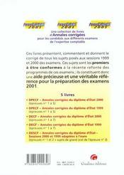 Annadescf 2001. annales corrigees epreuves 1 a 3 : synthese droit et comptabilite, synthese economie - 4ème de couverture - Format classique