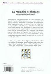 Pardes N.28 ; La Mémoire Sépharade ; Entre L'Oubli Et L'Avenir - 4ème de couverture - Format classique