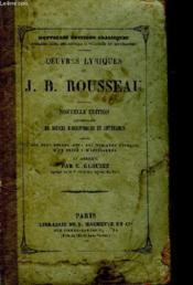 Oeuvres Lyriques de J.B. Rousseau. - Couverture - Format classique