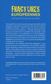 Fractures européennes, une autre Europe est possible - 4ème de couverture - Format classique