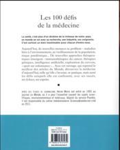 Les 100 défis de la médecine - 4ème de couverture - Format classique