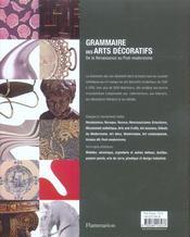 Grammaire des Arts décoratifs de la Renaissance au Post-Modernisme - 4ème de couverture - Format classique