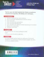 Droit matériel de l'Union européenne - 4ème de couverture - Format classique