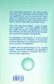 Les outils de la qualite totale (2. ed.) - 4ème de couverture - Format classique