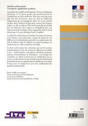 Qualités architecturales ; conceptions, significations, positions - 4ème de couverture - Format classique