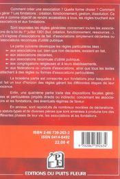 Associations De La Loi De 1901 Et Fondations (Privees Et D'Entreprises) De La Lo (6e édition) - 4ème de couverture - Format classique
