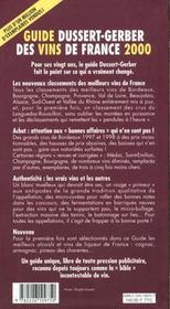Guide Dussert Gerber Des Vins De France 2000 - 4ème de couverture - Format classique