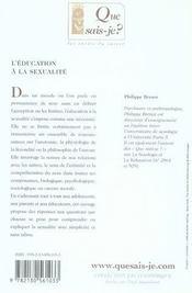 L'éducation à la sexualité (2e édition) - 4ème de couverture - Format classique