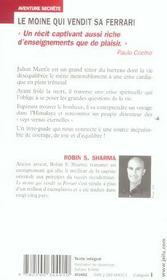 Le moine qui vendit sa Ferrari - 4ème de couverture - Format classique