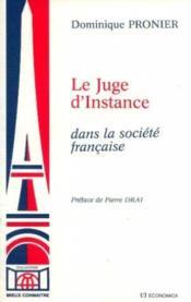 Le juge d'instance dans la société française - Couverture - Format classique