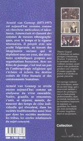 Rites De Passage Rites D Initiation Lecture D Arnold Van Gennep - 4ème de couverture - Format classique