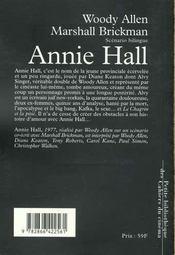 Annie Hall - 4ème de couverture - Format classique