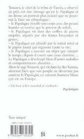Le papalagui ; les étonnants propos de touiavii, chef de la tribu, sur les hommes blancs - 4ème de couverture - Format classique
