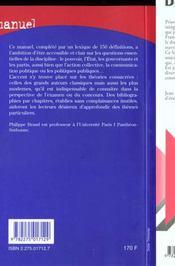 Manuel sociologie politique - 4ème de couverture - Format classique