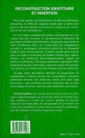 Reconstruction Identitaire Et Insertion - 4ème de couverture - Format classique