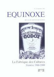 Revue Equinoxe T.24 ; La Fabrique Des Cultures : Geneve 1968-2000 - Intérieur - Format classique