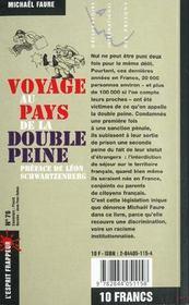 Voyage au pays de la double peine - 4ème de couverture - Format classique