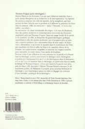 Thomas d'Aquin poète théologien t.1 ; littérature et théologie ; une saison en enfer - 4ème de couverture - Format classique
